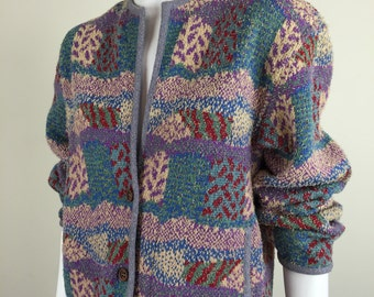 Missoni patchwork patterned shaggy knit sweater jacket w/ pockets 80s