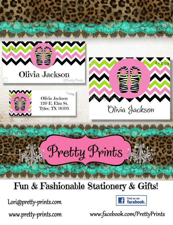 School Labels - Back to School - Zebra - Flip Flops - Personalized Stickers - Personalized Labels - Custom Labels - Tags