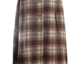 Vintage 1950's Bickler Check Wool Cape - www.brickvintage.com