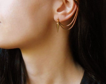 Spike ear cuff earrings, Cuff earrings with black gold chain,