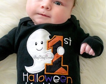 My first Halloween ghost baby boy girl embroidered black personalized bodysuit chevron orange black