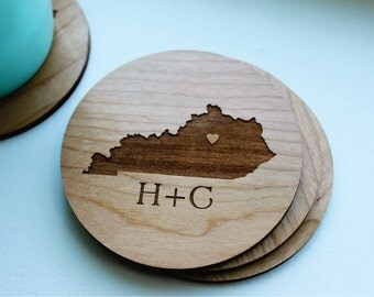 Personalized Wood Coaster Set of 4, Engagement Gift, Kentucky State Love (OR ANY STATE) With Heart Over City, Wedding Favor, Wedding Gift