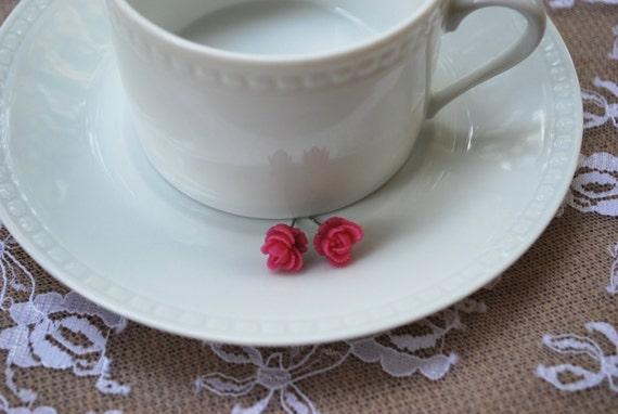 SALE Fuchsia Flower Earrings - Fuchsia Rose Earrings - Flower Earrings - Fuchsia Flower Stud Earrings - Fuchsia Rosette Earrings - Earrings