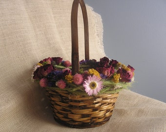 Wedding Girl Basket, Rustic Basket, Decorative Dried Flower Girl Basket, Woodland Wedding Basket, Natural Wicker Basket, Wedding Basket,