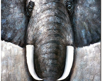 African Elephant Painting On Canvas - Hand Painted Wildlife Animal  Fine Art CERTIFICATE INCLUDED