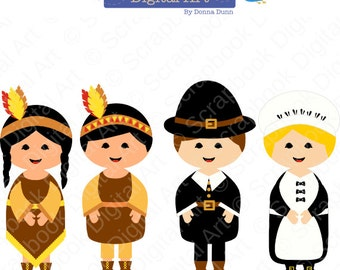 Pilgrims and Indians Digital Clip Art, Thanksgiving Clip Art. The First Thanksgiving Clip Art. Nativos Americanos y Peregrinos.
