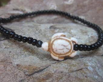 anklet custom Black  glass beads stone sea turtle bohemian stretch stackable minimalist yoga surfer mens women's anklet / ankle bracelet
