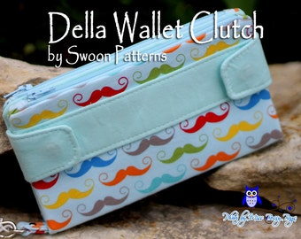 Sale: Handmade Moustache Wristlet Wallet / Swoon Della Wallet / Clutch / Wristlet / Handmade / Cell Phone / Checkbook READY TO SHIP