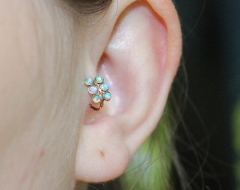 Tragus Earring 20g - Gold Nose Ring - 2mm Opal Tragus Hoop - Forward Helix Earring - Cartilage Earring - Rook Piercing - Conch Earring