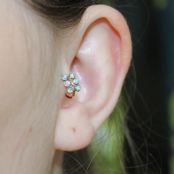 Tragus Earring 20g - Gold Nose Ring - 2mm Opal Tragus Hoop - Forward Helix Earring - Cartilage Earring - Rook Piercing - Conch Earring