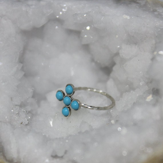 Silver Nose Ring 20g - Tragus Ring 2mm Turquoise - Forward Helix Earring - Cartilage Earring - Rook Jewelry - Daith Jewelry - Conch Earring