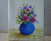 Tiny Blue Vase Original Acrylic Painting on Canvas, Miniature Painting, Floral Art, Small Artwork, Home Decor, Art & Collectibles