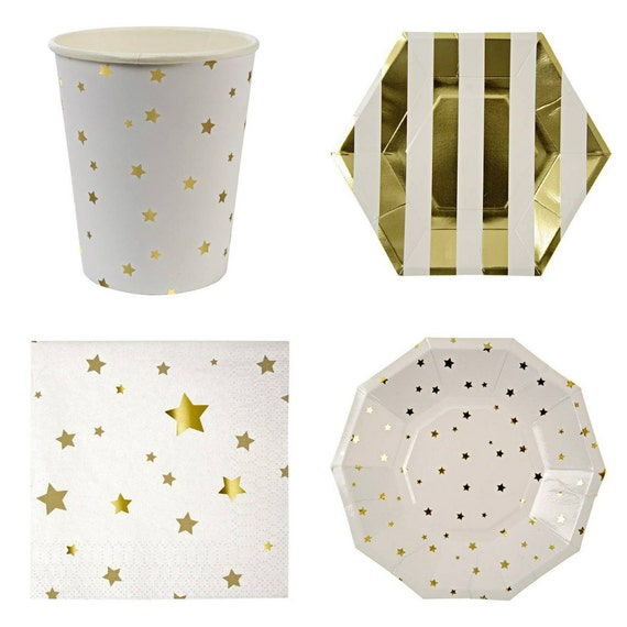 Gold Foil Star Party Items by Meri Meri/Toot Sweet!! Cups, 2 Plate Sizes, and Napkins!