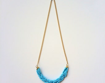 Braided Turquoise Beaded Chain Necklace
