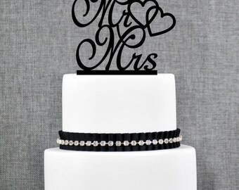 Mr and Mrs with Hearts Wedding Cake Topper, Script Mr and Mrs Wedding Cake Topper, Elegant Cake Topper, Mr&Mrs Hearts- (T184)