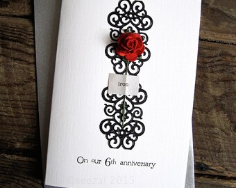 6th Wedding Anniversary Gift Ideas For Husband : 6th Wedding Anniversary Keepsake Card IRON. Husband Wife Partner 6 ...