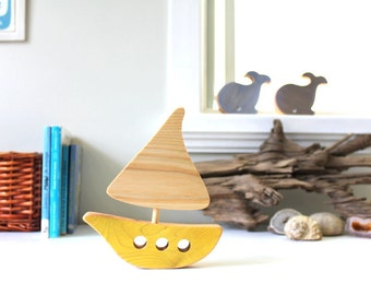 Wooden boat, wooden toy, baby's room decoration, ocean, sea, yellow