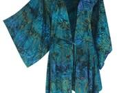 Women's Kimono | Plus Size Clothing with a Tunic Kimono Sleeve |  Boho Batik Style | Long Sleeve Cardigan, One Plus Size (1X-3X) Clothes