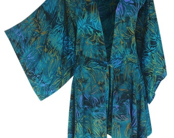 Boho Kimono | Plus Size Clothing with a Tunic Kimono Sleeve |  Boho Batik Tunic | Long Sleeve Cardigan, XL (1X) and One Size (2X/3X) Clothes