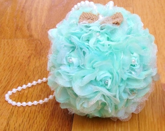 """Mint Green Kissing Ball Wedding Pomander Choose 4"""" or 5"""" Flower Girl Flower Ball Decorations Rose Kissing Ball Pew Bow Bridesmaid Bouquet"""