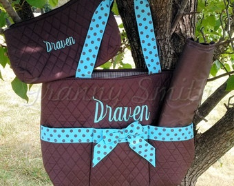 Brown solid quilted pattern with turquoise blue 3pc diaper bag set. large. Changing pad, necessities pouch, & diaper bag. Custom embroidered