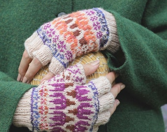 Shooting Star Mitts Knitting Pattern pdf Fair isle stranded colorwork knitting pattern