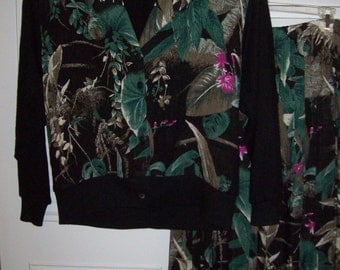 Vintage Two Pieced Jungle Rain Forest Pattern- Enchanting Dress Size Large