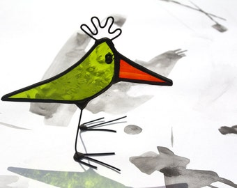BABY BIRD - Little Standing Stained Glass Bird - Unique Gift - Cute Character - Quirky Window Ornament