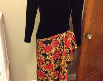 Woman's formal Dress, Crushed Velvet Top, Floral Bottom, Asymetrical, Sarong