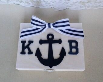 Nautical Ring Bearer Pillow Box- Anchor Sea Coastal Navy Royal Beach Wedding  - Pillow Alternative  Burlap Rustic
