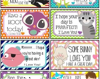 Lunch Notes and Jokes - 16 Printable Lunch Box Notes - Instant Download