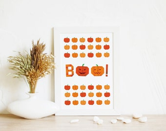 Halloween art print Boo! Pumpkin | Halloween Printable Art, Pumpkin art print, Fall Wall Art, Orange print, Halloween Home Decor, 4 sizes