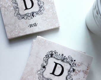 Wedding Date Gift, Monogram Coasters, Anniversary Gift, Personalized Wedding Gift, Bridal Shower Gift, Traditional Coasters