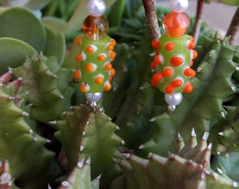 Funky handmade glass beaded dangle earrings