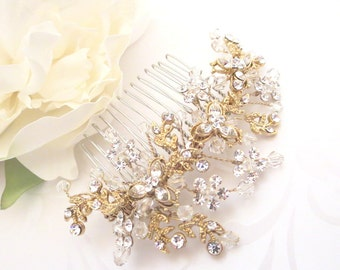 Gold headpiece, Wedding headpiece, Gold hair comb, Wedding hair comb, Crystal hair comb, Rhinestone headpiece, Vintage style headpiece