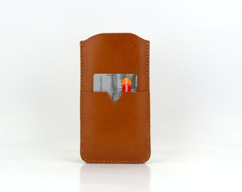 iPhone 5S Leather Case, Brown leather iPhone 5 Case with Card Holder, Stylish iPhone 5C Case, iPhone 4S Sleeve Handmade From Italian Leather