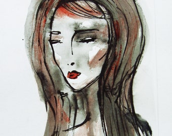 Face Painting, Original Ink Drawing, Girls Face, Womans Face, Female Portrait, Contemporary painting, Modern art