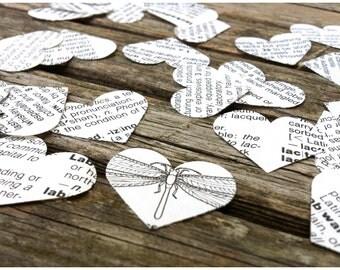 500 Heart Shaped Dictionary Confetti / Wedding Confetti / Party Confetti Decor / Vintage Paper / Baby Shower Confetti / Birthday Decor