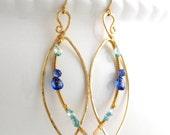 Hammered gold leaf earrings; Large royal blue gemstone hoops wire wrapped; Marquise; Almond; Art Nouveau; Elegant; Kyanite gem; Long hoop