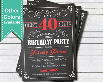 40th Birthday chalkboard invitation. Cheers to 40 year. Retro red, black, white chalkboard. Any age. Birthday drinks printable invite. AB135