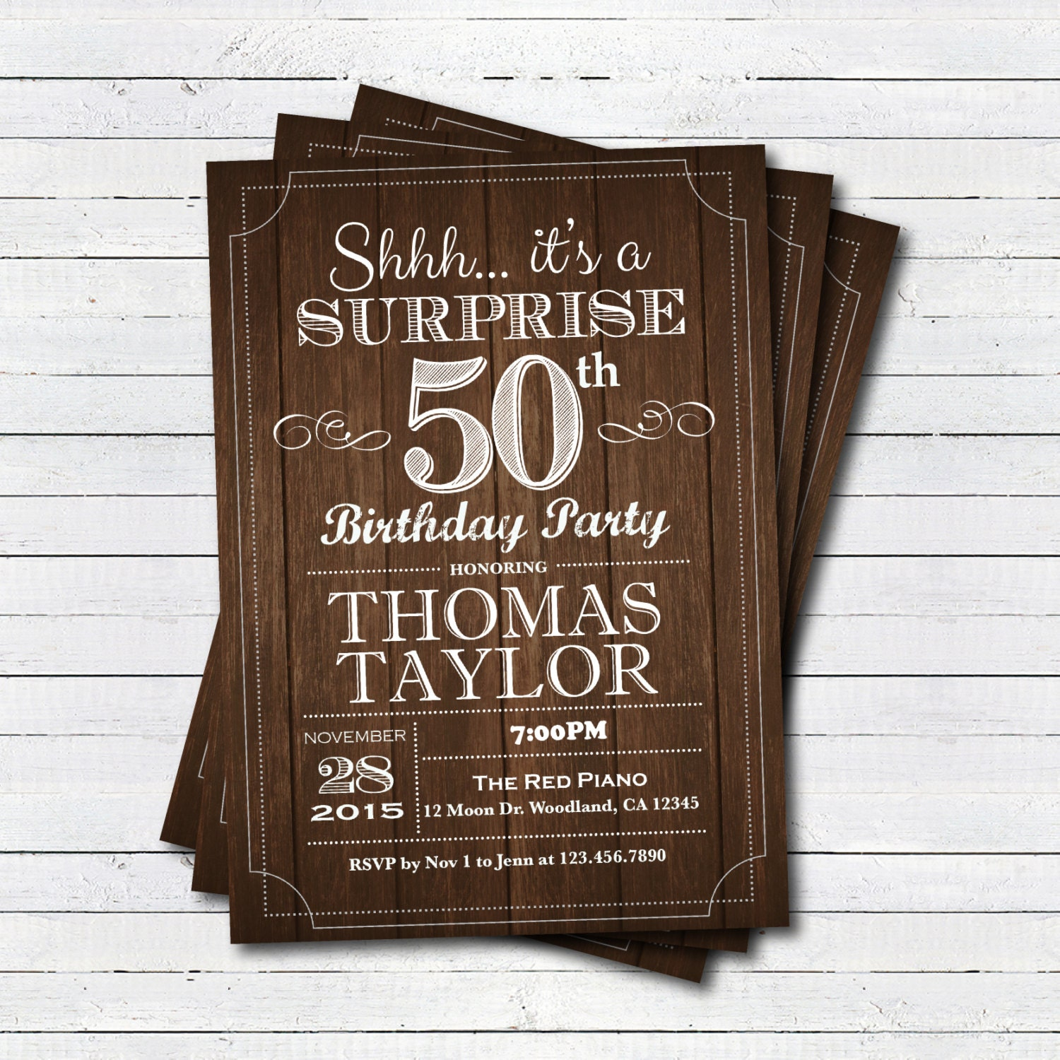 Surprise 50th Birthday Invitation. Adult Man Any Age
