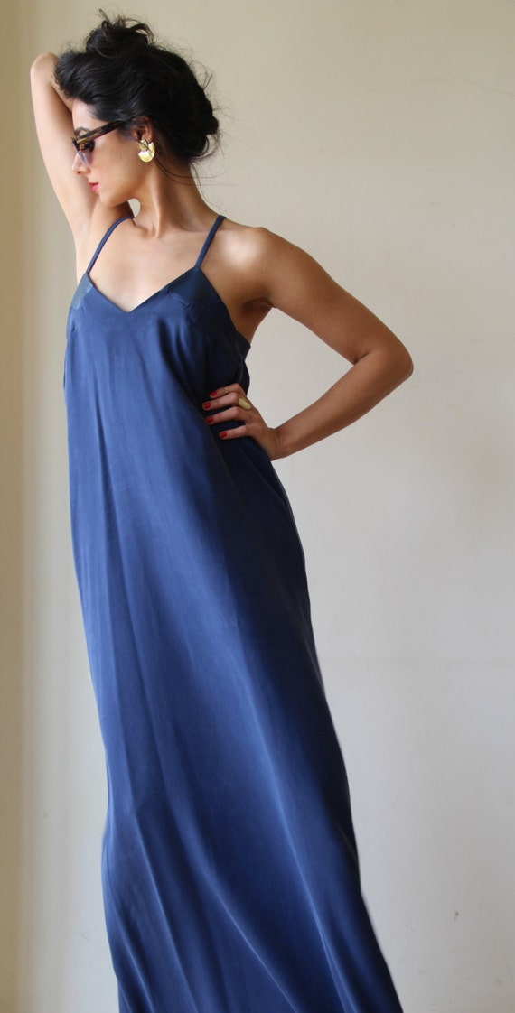 Navy blue maxi dress women evening dress bridesmaid dress for Navy blue maxi dress for wedding