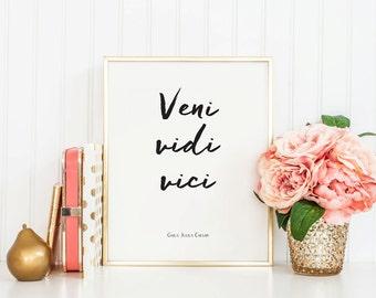 Veni Vidi Vici - Instant Download - 8x10 - 11x14 - Seneca - Antique - Roman - Printable art - Handwritten- Quote - Julius Caesar