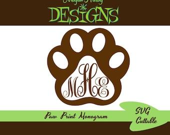 SVG Paw Print Monogram