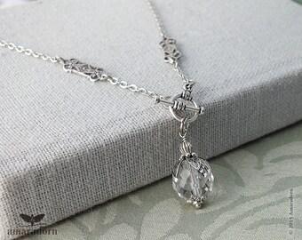 Silver Filigree Edwardian Necklace, Art Deco Style Necklace, 1920's Toggle Necklace, Antique Silver, Edwardian Style, 20 inch, Handmade UK