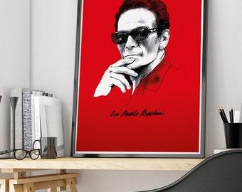 Pier Paolo Pasolini Poster Movie Cinema Wall Art Print Illustration Italia Director Escritor Poeta Poet Writer