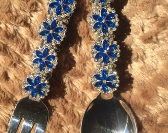 Crystal Blue Burst Serving Set- Created with Swarovski Crystals,  Glass and Slider Beads