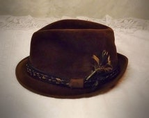 40's Mens Brown Fedora Hat Fur Velour by LaSalle Size 7  1 / 8