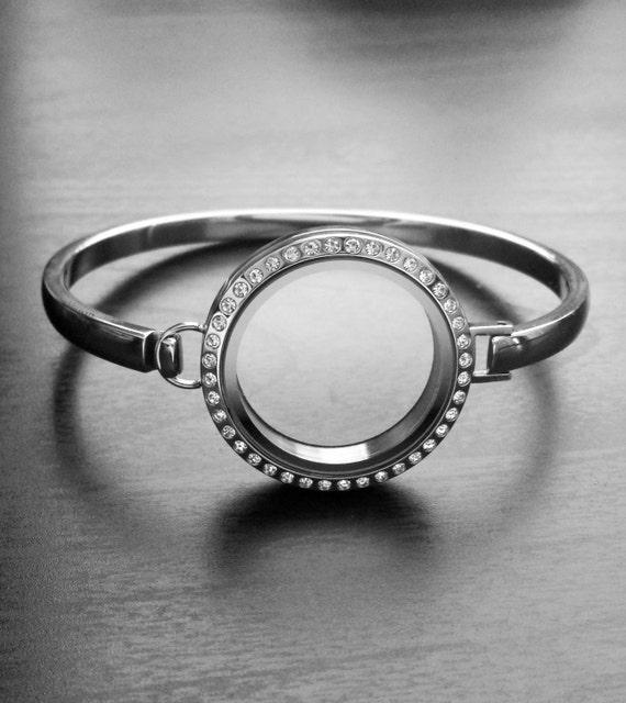 floating locket bangle bracelet 30mm memory locket
