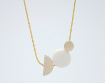 WHITE PORCELAIN Necklace // porcelain jewelry // geometric jewelry